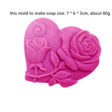 2 Roses Carved Heart Shape Mold DIY Craft Soap Making Hand made Bath Silicone