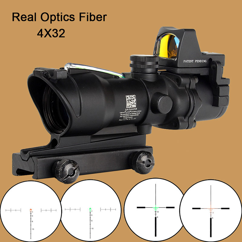 Tactical Airsoft ACOG 4X32 Sight Scope Real Red Green Fiber Source Illuminated Rifle Scope w/ RMR Micro Red Dot стоимость