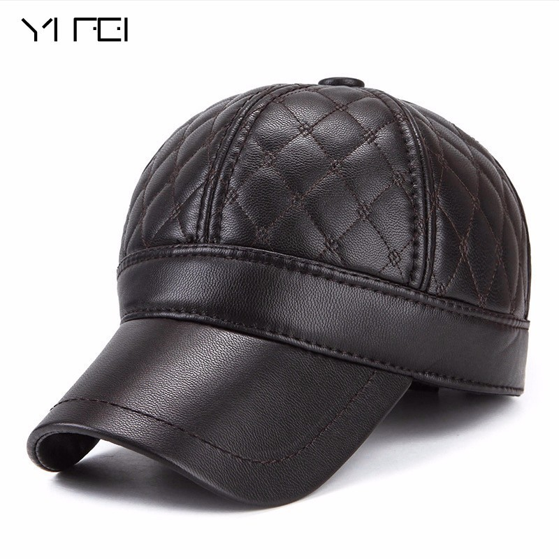 YIFEI Warm Winter Leather Fur Baseball Cap Ear Protect Snapback Hat For Women High Quality Winter Hat For Men Solid Russian Hat