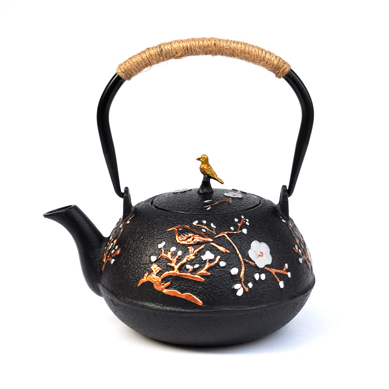 Iron Japanese Cast Iron Teapot Kettle with Stainless Steel Infuser Strainer 1.2L Send Free Gift Puer Tea Cake|Teapots| |  - title=