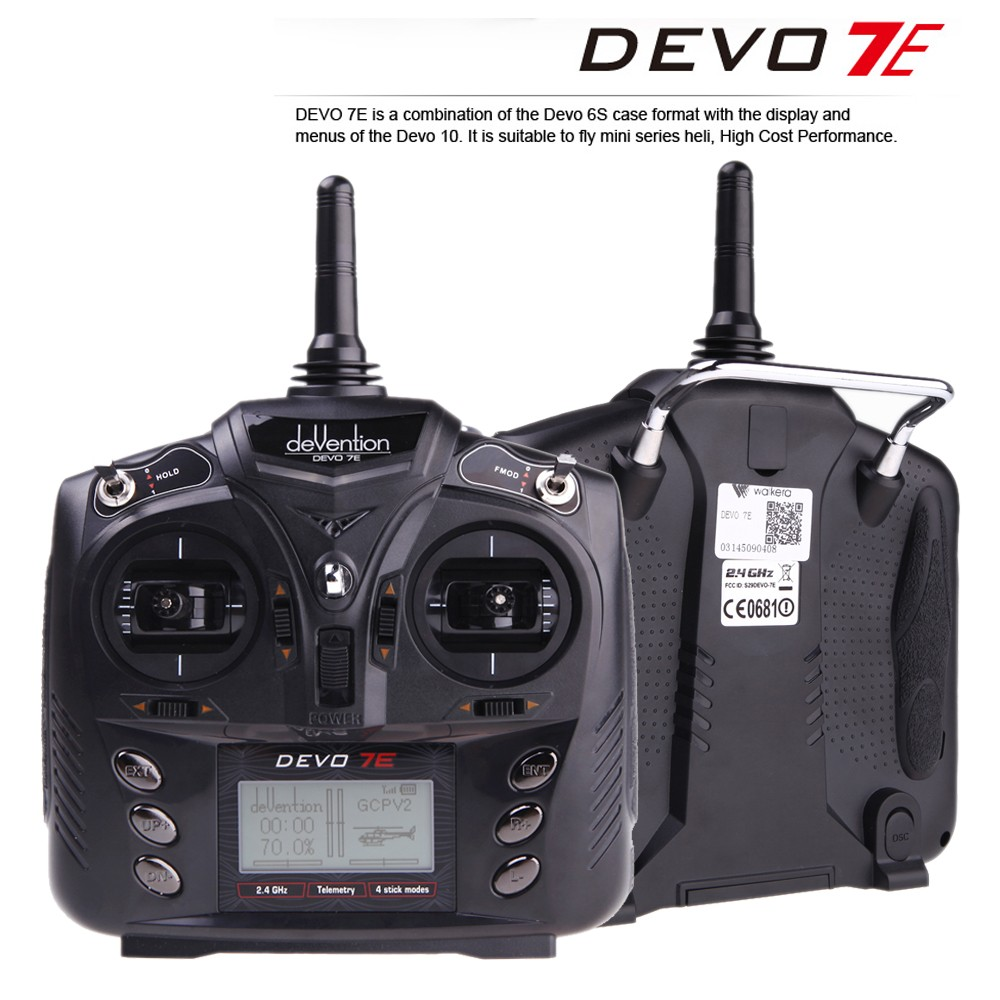 Walkera DEVO 7E 2.4G 7CH DSSS Radio Control Transmitter for RC Helicopter Airplane Model 2 Mode 1 F18519 walkera master cp parts 7ch transmitter devo 7e walkera devo 7e walkera master cp parts free shipping with tracking
