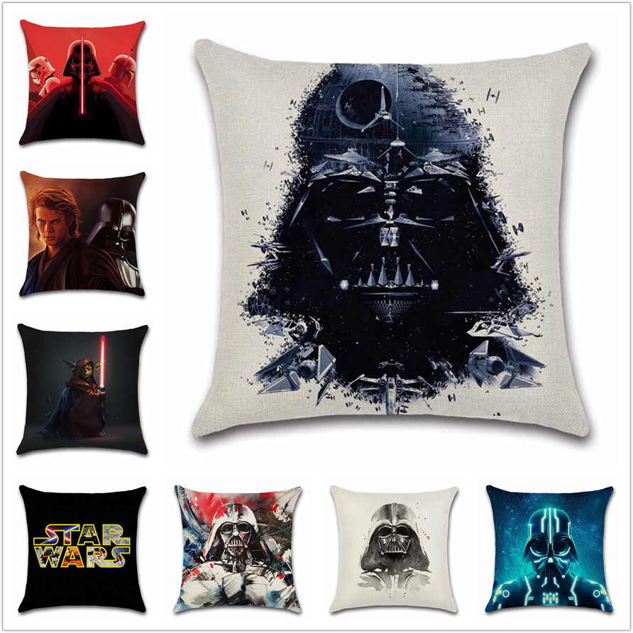 Wars Robot star force Vader cushion cover Cartoon Party Pillow case sofa Chair Decorative for home kids boy bedroom friend gift
