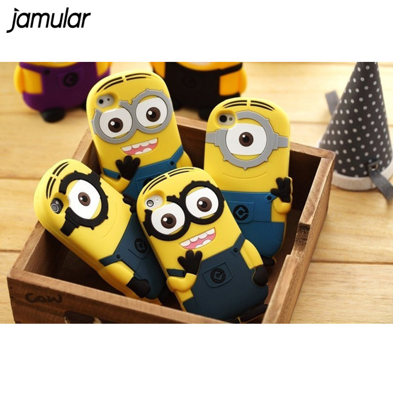 JAMULAR 3D Cute Cartoon Soft Silicone Despicable Me Yellow Minion Case Cover for iphone 6 6s Plus 4 4s 5 5s SE Phone Bags Capa