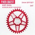 78 г/шт. GXP 34T овальное цепное кольцо узкий/широкий дизайн цепное колесо 7076-T651 алюминиевый сплав дорожный велосипед MTB BMX цепное кольцо