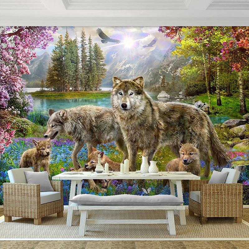 Papier Peint Mural 3D personnalisé forêt fleur de pêche rouge loup gris animaux enfants Papier Peint décor chambre d'enfant Papier Peint Enfant