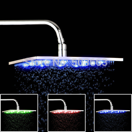 2015 New Brand 12 LED Light Shower Head Water Power NO Need Batteries Chrome Bathroom Basin Sink Faucet Mixer Tap Shower Head china sanitary ware chrome wall mount thermostatic water tap water saver thermostatic shower faucet