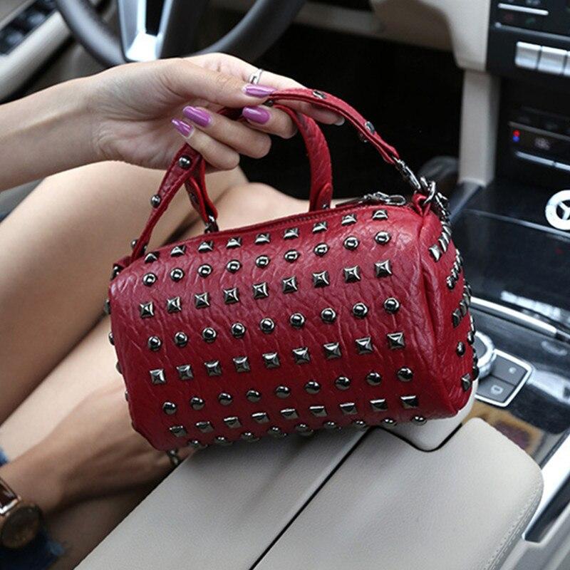 Ciezun Kisoer carteras mujer de hombro 2017 new girl bag punk PU rivet handbag trend fashion