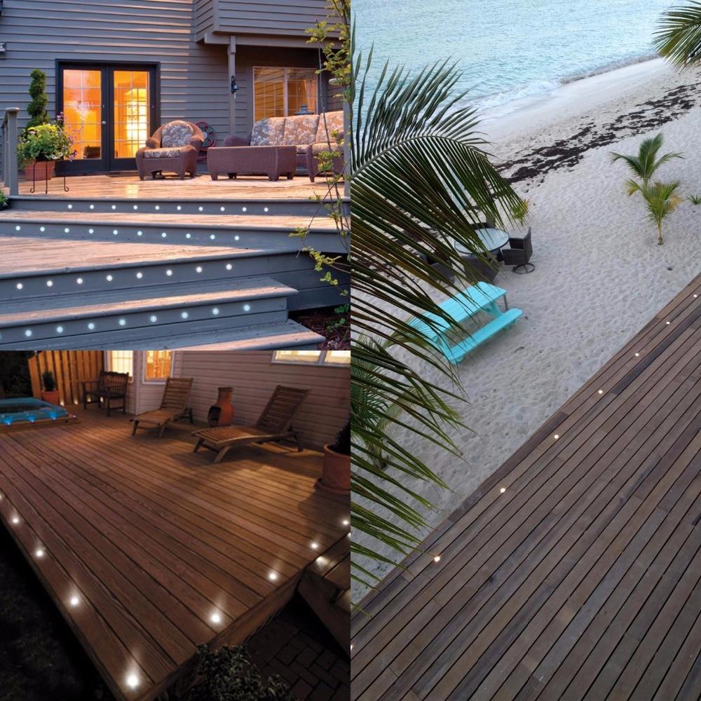 qaca led deck light outdoor garden patio stairs landscape decor led