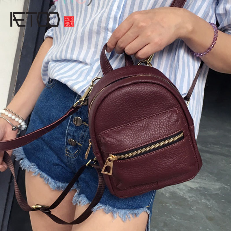 AETOO New personality Korean version of the leather three with mini shoulder bag female tide small backpack mini bag bag shoulde обои акриловые бумажные harrison prints delancey dc50903