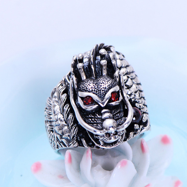 Authentic 925 Sterling Silver Dragon Rings For Men With Garnet Natrual Stone Red Eyes Vintage Punk Rock Mens Fine Jewelry