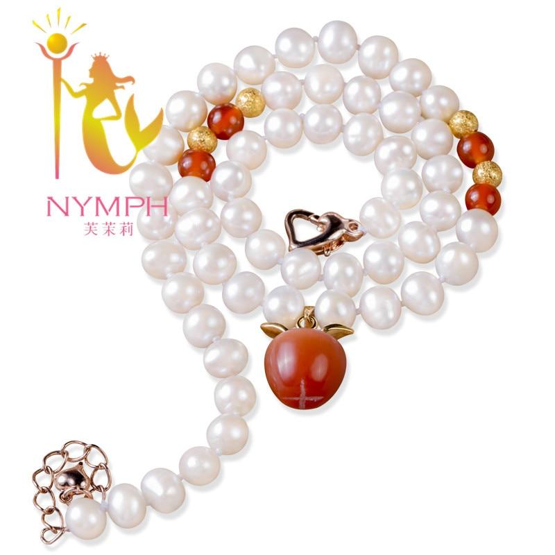 Collier de perles d'eau douce à la mode avec des colliers de cornaline en forme d'oeuf en pierre XL1018