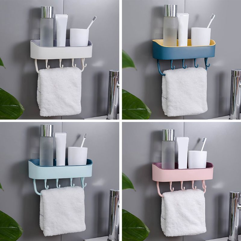 Bathroom Shelf Storage Organizer Self Adhesive Wall Mounted Shower Caddy Rack For Shampoo Combo With Towel Bar