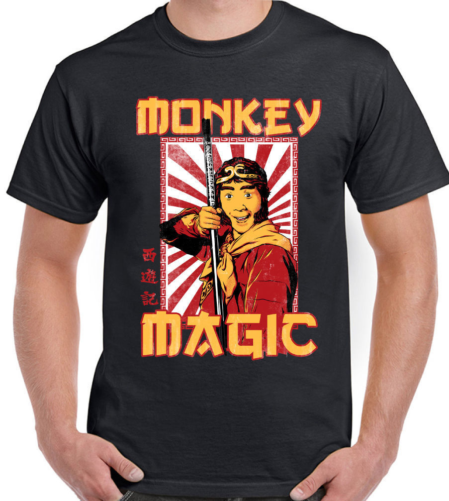 Mens Retro Monkey Magic T-Shirt Chinese Fantasy TV Show 70's 80's image