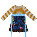 Factory Direct Sale Knitted Cotton Baby Ruffle Frock Children Long Sleeve Stripe Tunic Floral Girls Fall Dresses with Belt CX001
