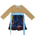 Venda Direta Da fábrica de Malha de Algodão Plissado Bebê Vestido Crianças Tarja de Manga Longa Túnica Floral Meninas Caem Vestidos com Cinto CX001