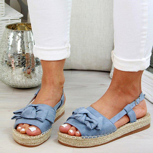 Image 3 - Big Size Women Sandals Espadrille Summer Flat Women Slippers With Platform Fashion Shoes Women With Buckle Buckle Peep L10