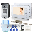 "New 7"" Color Screen Video Door Phone Intercom Kit 2 Monitors + 1 Outdoor RFID Access Bell Camera + 250 Strike Lock FREE SHIPPING"