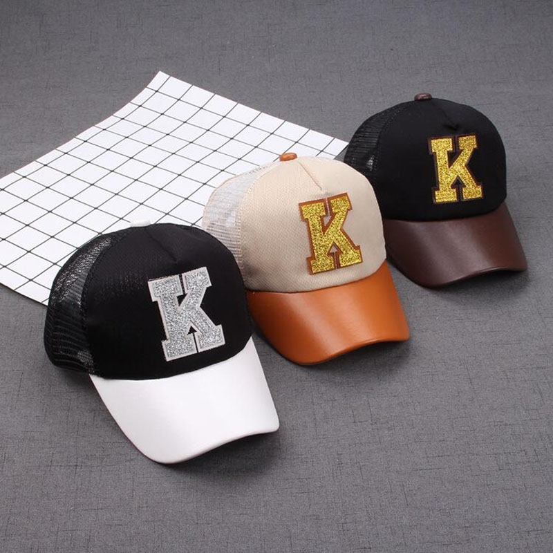 2017 summer new child baseball cap letter K hat Gorras Planas snapback Net cap hip-hop hat cap snapbacks polo bone 18 high quanlity lovely american princess baby hot girl doll lifelike baby dolls for girls