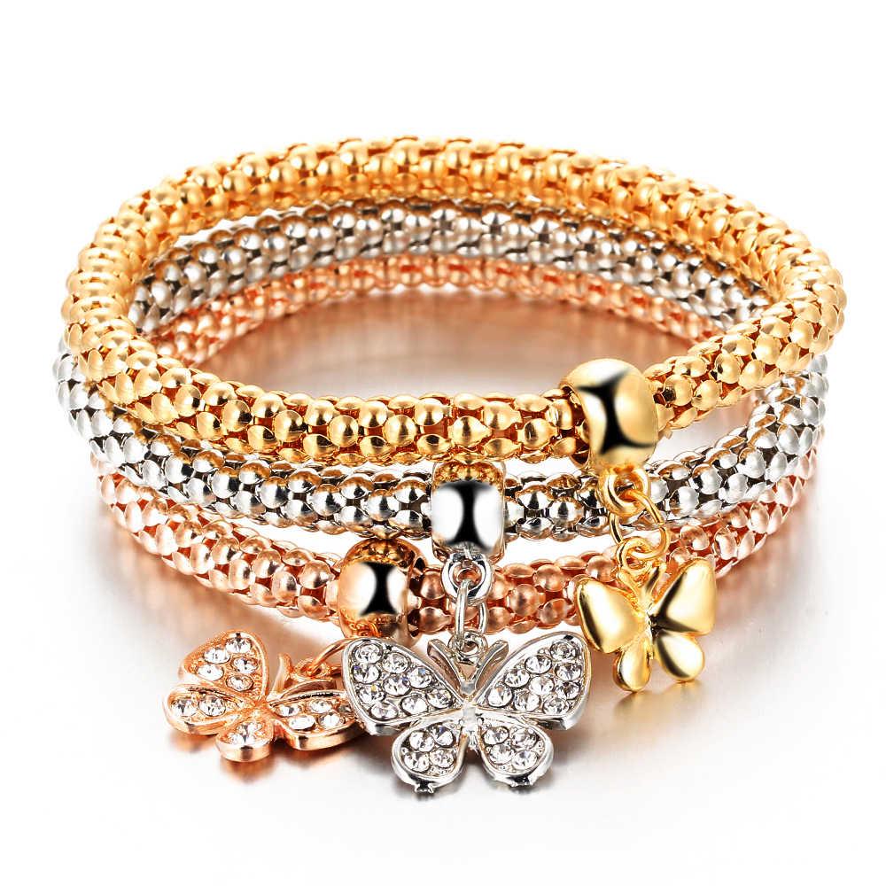Rinhoo3 Pcs/ชุดคริสตัลนกฮูกมงกุฎโลหะ Charm สร้อยข้อมือกำไลข้อมือ Rose Gold สีช้างจี้หัวใจ Rhinestone สร้อยข้อมือผู้หญิง