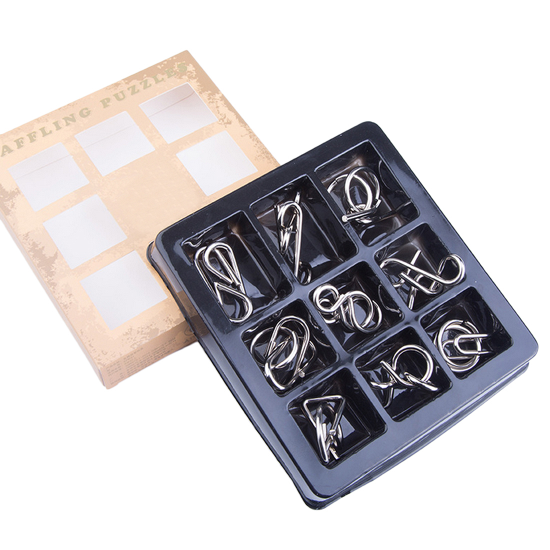 4 Difficulty Levels 9pcs Metal Montessori Puzzle Wire  Mind Brain Teaser Puzzles For Children Adults Anti-Stress Reliever Toys