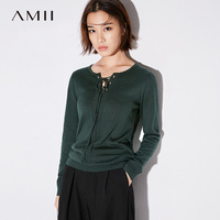 Amii Casual Women Sweater 2017 Solid Elasticity Straps V Neck Knit Female Pullovers Sweaters