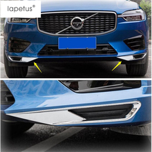 Lapetus Accessories Fit For VOLVO XC60 2018 2019 Chrome Front Under Fog Lights Lamp Eyelid Eyebrow Frame Molding Cover Kit Trim