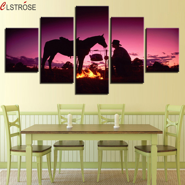 CLSTROSE Canvas Painting Living Room Wall Art Unframed 5 Pieces Sunset Dusk Whit Horse Pictures Prints Flame Poster Home Decor