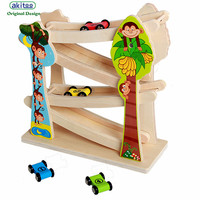 akitoo 1050 hiit Wooden animal glider new speed racing wood track sliding block gravity acceleration toys with 4 cars gift