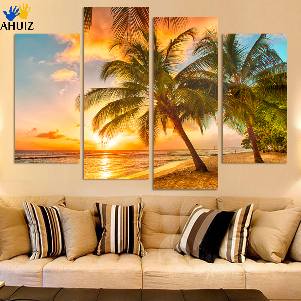⑥4Piece Sunset Seascape Inclued Coco Beach Modern H Wall Art HD ...