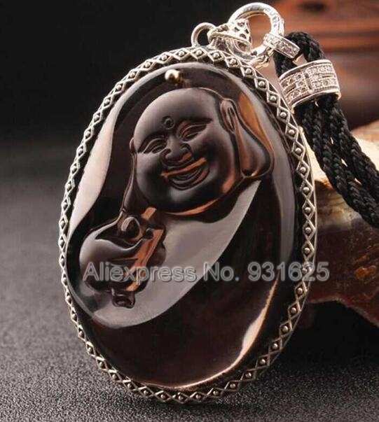 925 Silver Natural Ice Obsidian Carved Chinese Laughing Buddha Amulet Lucky Pendant + Beads Necklace Fashion Charm Jewelry925 Silver Natural Ice Obsidian Carved Chinese Laughing Buddha Amulet Lucky Pendant + Beads Necklace Fashion Charm Jewelry