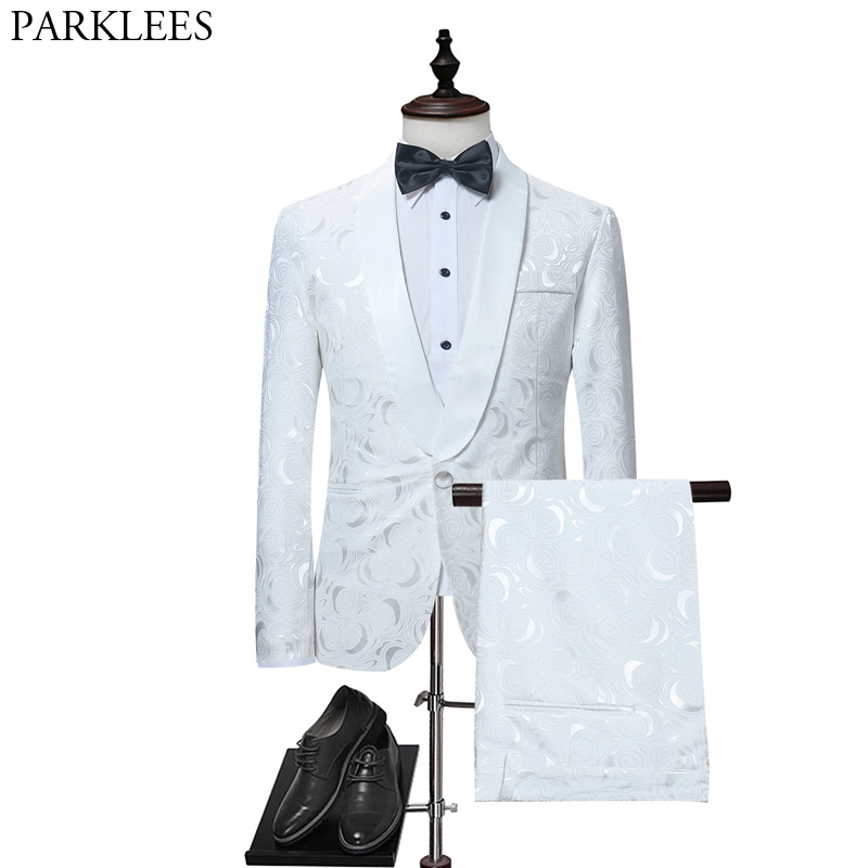Mens White Floral One Button Suits Party Wedding Groom Tuxedos Groomsmen 2 Piece Suit (Jacket+Pants) Male Costume Mariage Homme