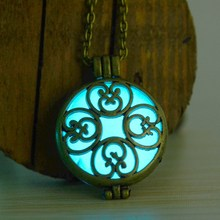 Glow in the Dark Circle Glowing Necklace Pendants vintage Hollow Flower glowing necklace for women glow in the dark jewelry