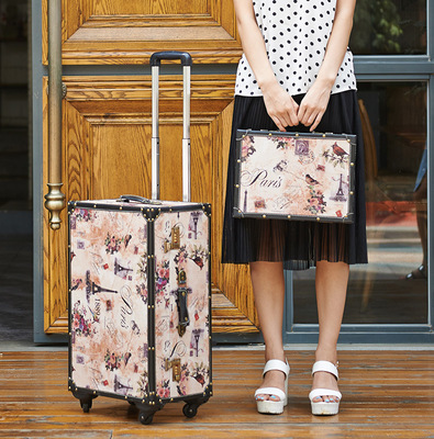 PU Wood frame universal wheel rolling luggage travel case Vintage Sets trolley suitcase
