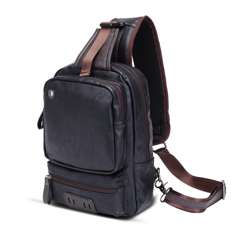 2018 New Fashion Men Waist Packs Male Vintage Chest Pack High Quality Boy Brand Design Pu Leather Chest Package Shoulder Bag Hot
