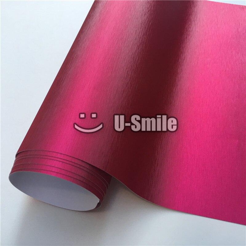 Feuille de Film de vinyle brossé rose Chrome mat de première qualité sans bulles pour l'emballage de voiture