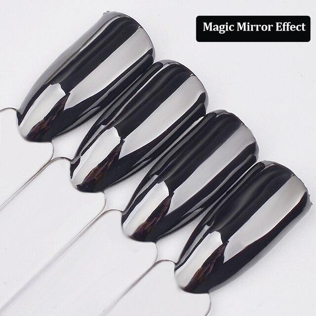 1G miroir magique noir ongles paillettes poudre Super lisse Nail Art Chrome Pigment poussière manucure bricolage ongles décorations