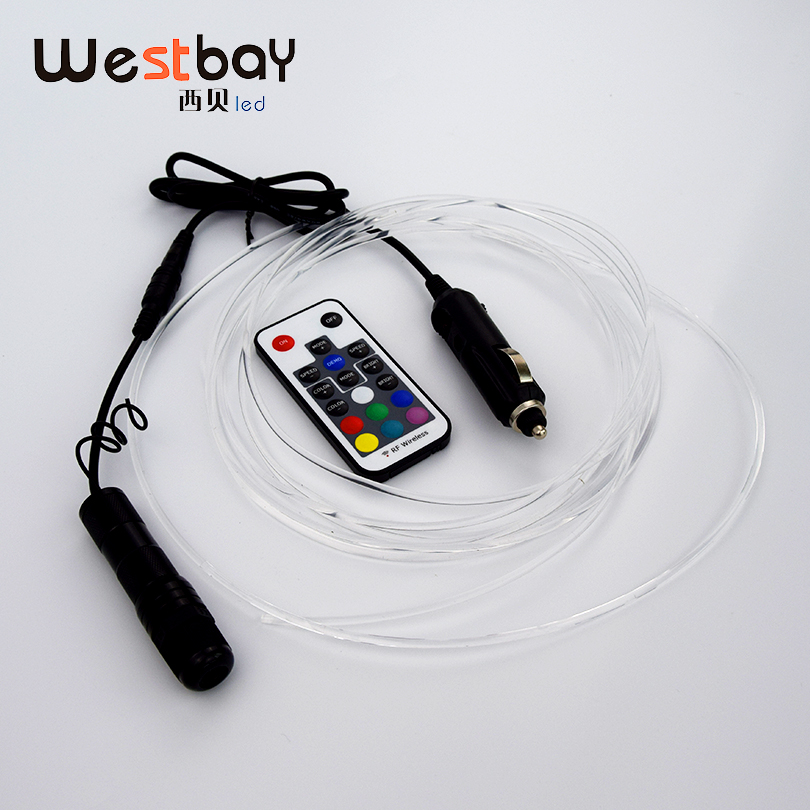 Westbay RGB round Side Glow Optic Fiber Light Kit 1m/2m/3m/4m/5m/6m DC12V 3W Optical Fiber For Car Decoration Fiber Optic цена
