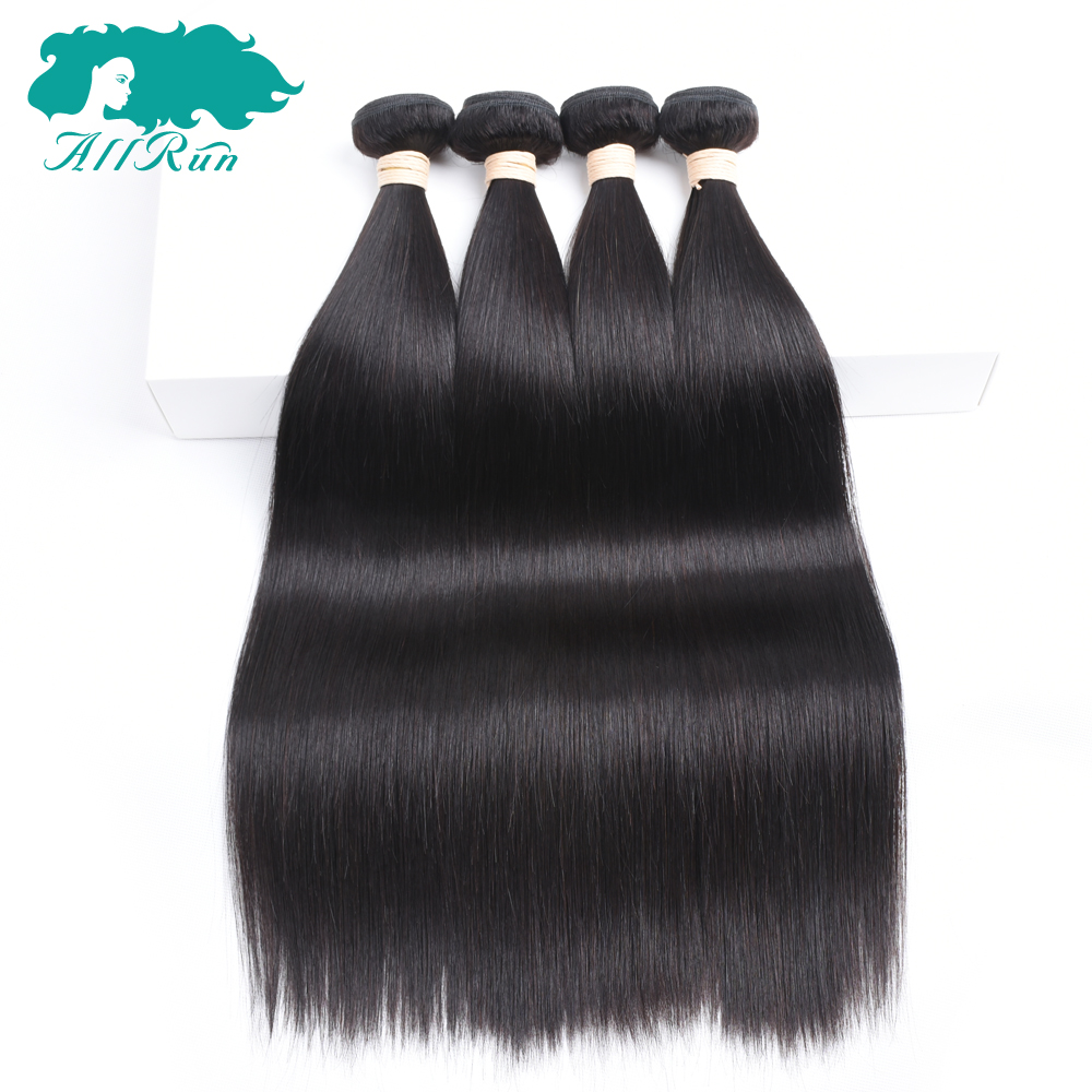 Allrun Pre-Colored Indian Straight None Remy Hair 4 Bundles/Pack Weaves Bundles Human Hair Clip in Extensions Free Shipping