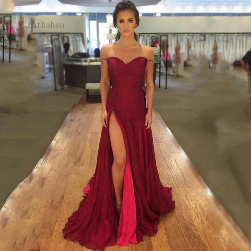 mermaid   prom     dress   dark red   prom     dresses   sweetheart pleat beading front split vestidos de festa sweep train party   dress