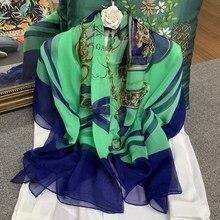 Saddle Blue Chains Scarf Women Pure Silk Chiffon Large Square Handmade Hemming 140*140cm Female Shawl Wrap