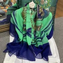 Saddle Blue Chains Scarf Women Pure Silk Chiffon Large Square Handmade Hemming 1