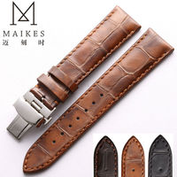 MAIKES Brown Genuine Leather Watch Band 20mm 22mm Women Men Vintage Style Casual Calf Leather Watch