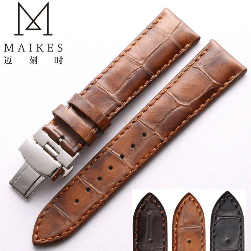 MAIKES коричневый ремешок для часов из натуральной кожи 18 мм 20 мм 22 мм женский и мужской винтажный Стиль Повседневный ремешок из телячьей кожи для часов IWC