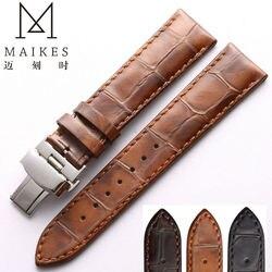 MAIKES correa de reloj de cuero genuino marrón 18mm 20mm 22mm para mujer y hombre Estilo Vintage casual correa de reloj de cuero de becerro para IWC