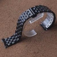 16mm 20mm 22mm 24mm Stainless Steel Watches Band Strap Curved ends promotion Wrist watchband Belt Link Bracelet Black promotion