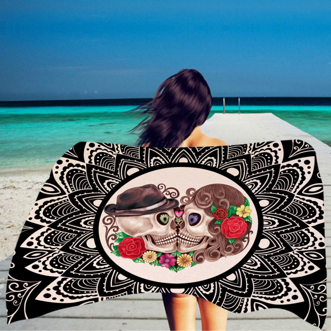 Rectangular beach towel fashion personality skull and head ...