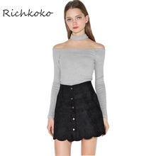 Richkoko 2016 Fashion Sexy Autumn And Women New Fashion Sexy Off Shoulder Tees Slim Long Sleeve Tops Casual Halter T-shirt