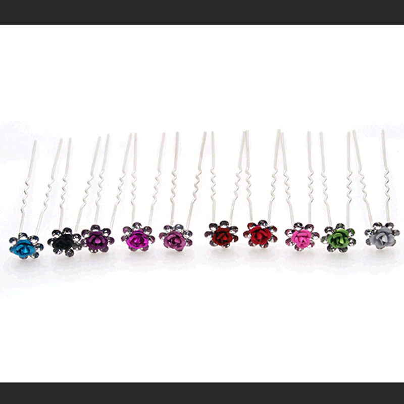 Bright Solid Colors Rose Flower Shiny Crystal Double Legs Hairpins Silver Hair Stick Headwear Women
