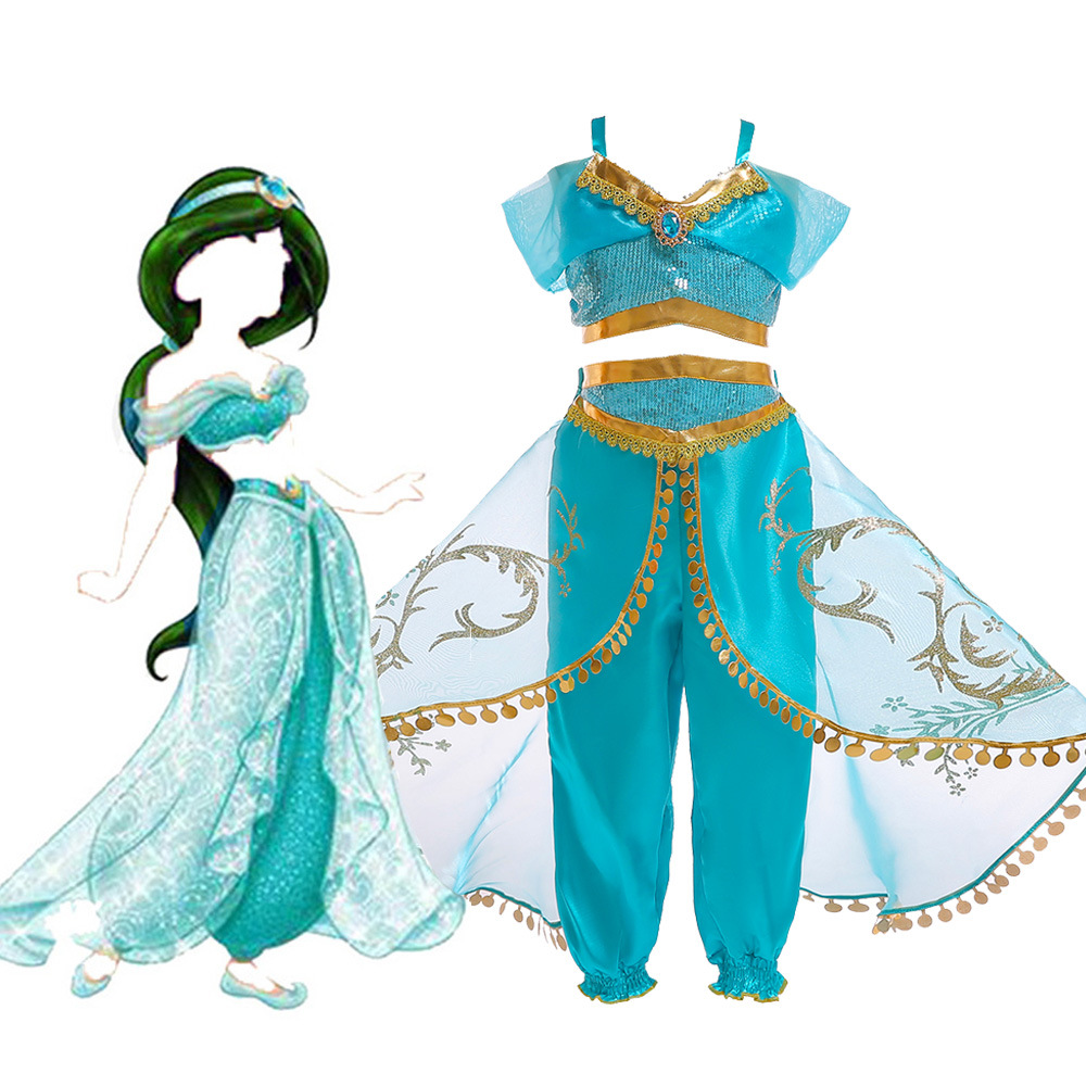 Halloween Christmas Party Aladdin's lamp Cosplay Kids Girls Princess Jasmine Costumes For Girls  Party Belly Dance Dress Indian