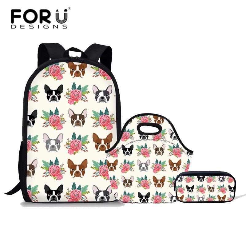 FORUDESIGNS/3 шт./компл. детей школьные сумки для девочек Начальная школа рюкзак Бостон терьер печати школьный студенты сумки на плечо